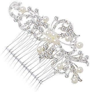 مشاط KaLaiXing Hair Comb-Vintage Simulated Crystal and Pearl Side أمشاط زفاف من أجل الزفاف -LY01