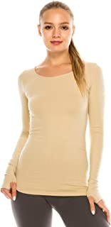 Kurve Womens Long Sleeve Round Neck Warm T-Shirt, UV Protective Fabric UPF 50+ (Made with Love in The USA)