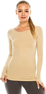 Womens Long Sleeve Round Neck Warm T-Shirt, UV Protective Fabric UPF 50+ (Made with Love in The USA)