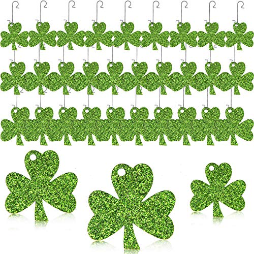 WILLBOND 30 Pieces St. Patrick's Day Shamrock Ornaments with 30 Pieces Metal Hooks Glittery Clover Hanging Ornaments Green Shamrock Shaped Hanging Baubles in Multiple Size for Home Party Decor