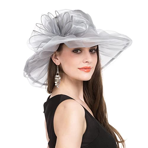 Saferin Women Oganza Summer Sun Hat Beach Church Hat Ascot Race Derby Hat  Cocktail Wedding 2ed7c86765b1