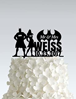 Acrylic Wedding Cake Topper - Batman couple - Email us your name and date