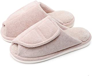 Indoor Cotton Slippers, Open-Toe Shoes, Ladies Slip Warm Home Magic Slippers, Outdoor Soft Slippers,Pink,L