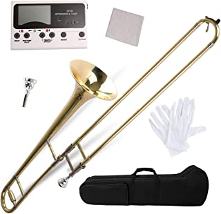 Apelila Gold Bb Tenor Trombone, Tuner, with Hard Case Mouthpiece Cleaning Kit & Care Kit Standard Student Beginner Brass Trombone
