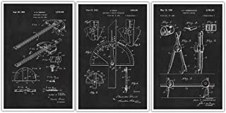 Architect Tools Patent Prints Set of 3 - Technical Drawing Patents - Architecture Student Gift - Mathematical Instruments - Technical Wall Art