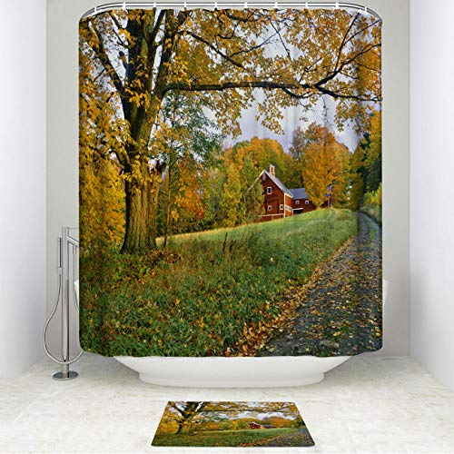 Monstero Country Autumn Rustic Shower Curtain Set with Non-Slip Bath Mat Vermont Country Side of with Shower Curtain with 12 Hooks Waterproof Durable Shower Curtain for Bath Room 72 X 72