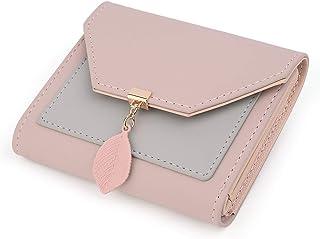 UTO Portafoglio piccolo per donna in pelle sintetica con Pendente foglia Portamonete con cerniera organizer porta carte Rosa