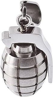 Stainless Steel Pendant with Hand Grenade in Black Velvet Bag