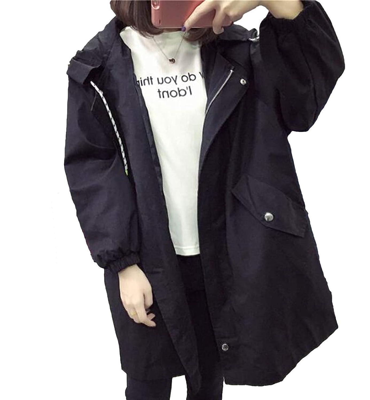 ZUOMAレディース スプリングコート プルオーバー ジャンパー 大きいサイズ ロング丈 ブルゾン 薄手 カジュアルジャケット