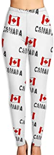 Jadetian Canada Flag and Doodle Lettering Womens Ultra Soft Leggings Fashion High Waist Yoga Pants Printed Sport Workout Leggings Tight Pants