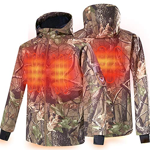 CONQUECO Men's Soft Shell Heated Jacket Waterproof Camo Hunting Hoodie Jacket with Battery Pack (L)