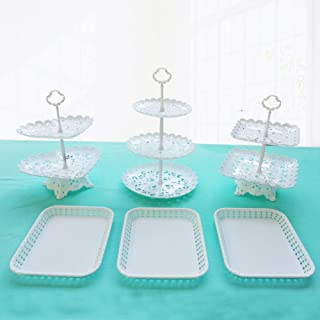 Dessert Stand Set of 6 Pieces Includes 3 Tier 2 Tiers Square/Heart/Round Cupcake Holder Rectangular Plate Tray for Wedding Birthday Party Fruits Desserts Candy Bar Display White