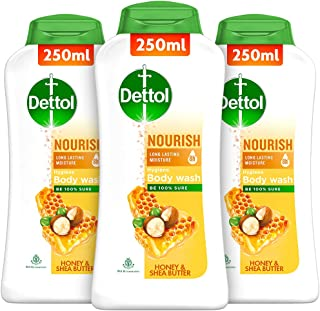 Dettol Body Wash and Shower Gel, Nourish - 250ml Each (Buy 2 Get 1)