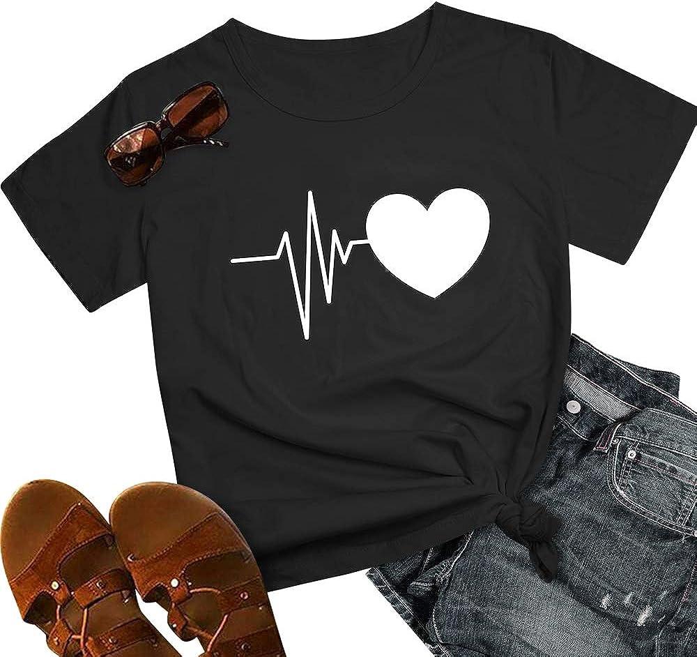 T Shirt Maglietta Manica Corta Girocollo Donna Estiva Elegante Camicia T-Shirt da Donna Divertenti Bee Kind Stampata Maglietta Estiva Donna Moda Top