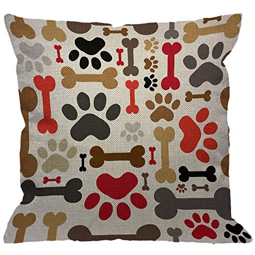 HGOD DESIGNS Dogs Paws and Bones Throw Pillow Cover,Lovely Cartoon Adorable Footprint Decorative Pillow Cases Cotton Linen Square Cushion Covers for Home Sofa Couch 18x18 inch