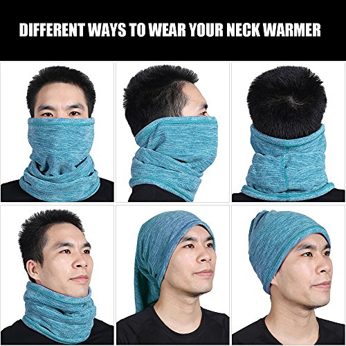 WTACTFUL Soft Fleece Neck Gaiter Neck Warmer Face Mask Balaclava Cover for Cold Weather Windproof Gear Winter Outdoor Sports Snowboard Skiing Cycling Motorcycle Hunting Fishing Men Women Lake Green