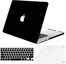 MOSISO Case Only Compatible Older Version MacBook Pro Retina 13 Inch (Model: A1502 & A1425) (Release 2015 - end 2012), Plastic Hard Shell & Keyboard Cover & Screen Protector, Black