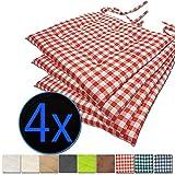 nxtbuy Stuhlkissen 4er Set 40x40 cm Rot Kariert - Gepolstertes Sitzkissen mit Bändern, für Indoor...