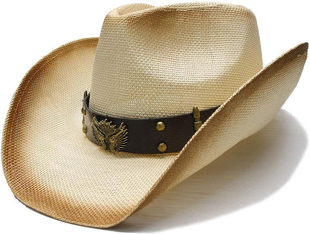 sun hats Sun Hat for Women Men Summer Cowgirl Fedora Straw Wide