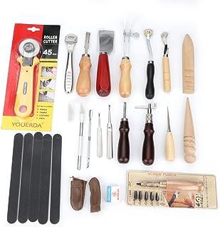 20pcs Kit d'Outils pour Cuir et Couture, Outils de Poinçon de Couture d'Artisanat à Main Cousant, Outils de Travail pour C...