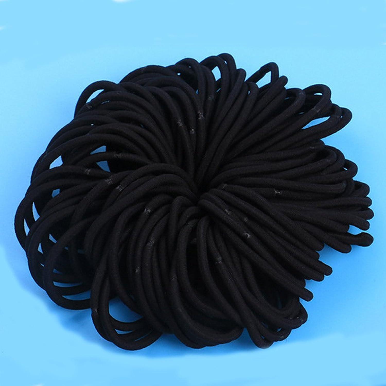 ヘアゴム リングゴム 結び目 接合なし ヘアアクセサリー ハンドメイド 2つの厚さ仕様(厚さ:1cm、黒)または(厚さ:0.4cm、黒)