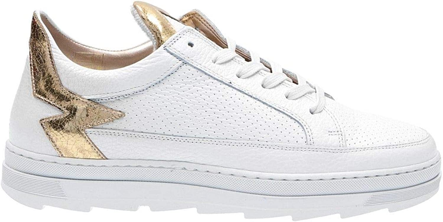 MOHAI Women's KEROLBCgold White Leather Sneakers