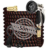 WGCC Expandable Garden Hose, 50ft Heavy-Duty [4 Layers Latex] 5-in-1 Water Gardening Hose with 9 Function Alloy Sprayer Nozzle - No Kink Flexible Water Hose with 3/4' Solid Brass Fittings