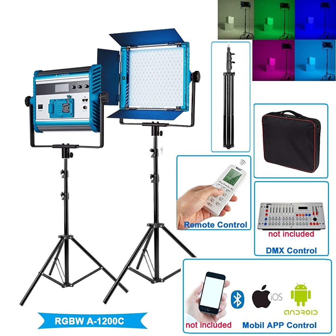 Yidoblo RGBW LED Soft Video Light Panel Kit 2800K-10000K Adjustable by DMX/Phone App/Remote Control with Stand/Barndoors/Travel Case,96W Continuous Photography Lighting for Photo Studio Video Film