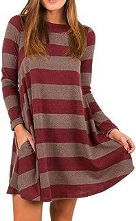 Women's Retro Stripe Loose Dress, Ladies Long Sleeve Mini Dress Round-Neck Dress with Pockets Casual Dress Party Dress