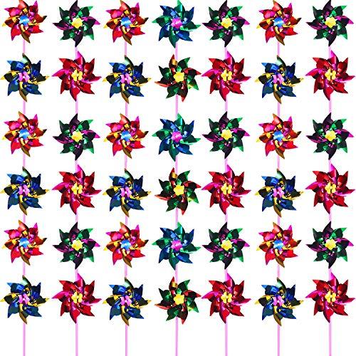 Moulin à Vent en Plastique Arc en Ciel, Moulin à Vent Partie Bricolage Moulin à Vent de Pelouse Set pour Enfants Jouet Jardin Partie Pelouse Décor (50, Multicolore A)