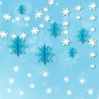 Frozen Themed Party Decorations, 3D White Snowflake Garland & Big 3D Hanging Snowflake Decorations & Snowflake Wall Sticker Value Kit for Christmas/Birthday Event/Home Decorations (Ice Blue)