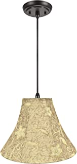 Aspen Creative 70084-11 One Hanging Pendant Ceiling Light with Transitional Bell Fabric Lamp Shade, Brown, 16  Width