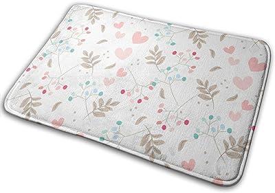 """Sweet Floral and Tiny Hearts Indoor Doormat Front Back Door Mat,23.6""""x15.8"""" Mat Non Slip Large Door Rug"""