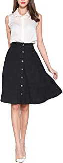 Pytha Sight Women's A-Line Midi Skirt Button Front High Waist Twill Flowing Skirt with Pockets