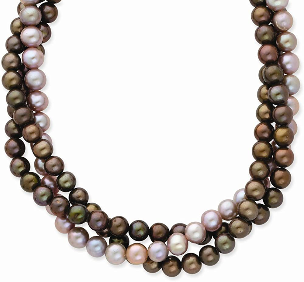 14k Yellow Gold 6-7mm Brown/Purple Freshwater Cultured 3 Strand Pearl Necklace