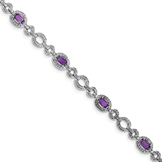 Sterling Silver Textured Polished Rhodium-plated Box Catch Closure Diamond and Amethyst Oval Link Bracelet