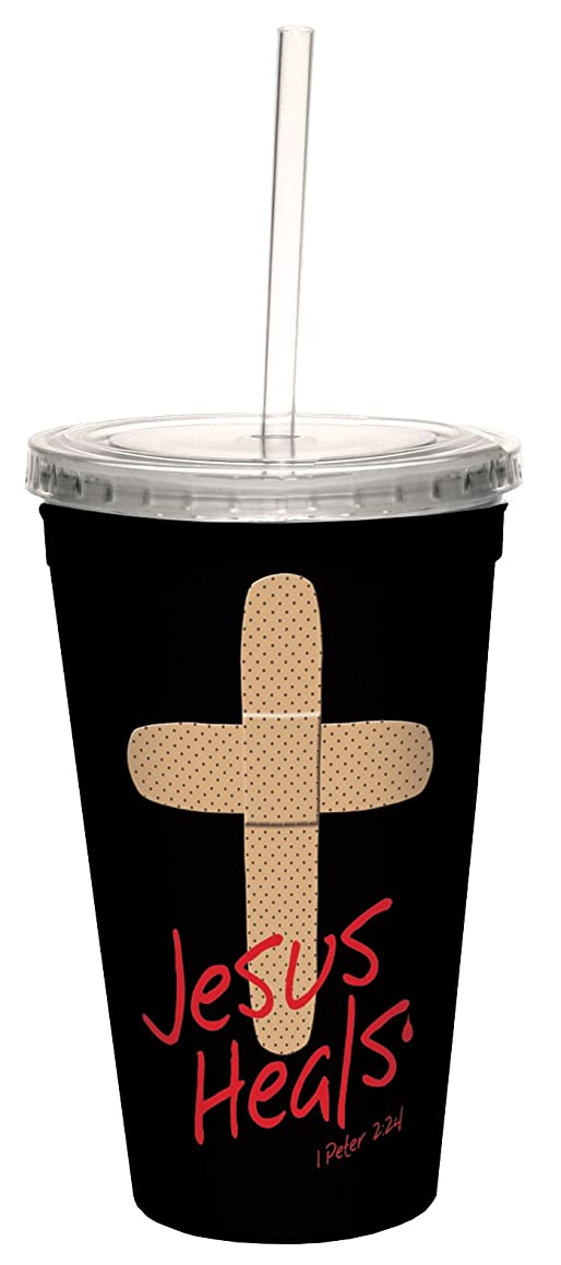 Tree-Free Greetings cc34268 Jesus Heals Band-Aid: 1 Peter 2:24 Artful Traveler Double-Walled Cool Cup with Reusable Straw, 16-Ounce