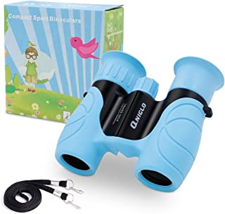 Qniglo Binoculars for Kids Shock Proof 10 x 22 High Resolution Real Optics Outdoor Explore Toys for kids Children Toys Gift For Kids (blue)