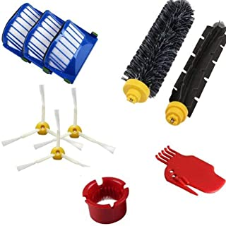 for Irobot Roomba 500 600 610 620 650 Series Vacuum Cleaner Replacement Part Pack Filter Side Brush Bristle Brush(white)