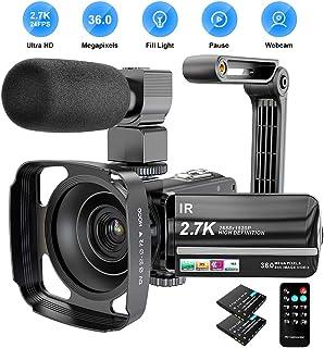 Cámara de vídeo de 27 K 36 MP UHD WiFi zoom digital 16X visión nocturna infrarroja pantalla táctil de 3 pulgadas IPS videocámara de vídeo con micrófono parasol y soporte para cámara