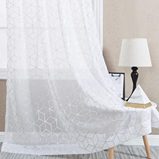 Vangao Foil Print Sheer Curtains White Voile 84 inches Long Window Curtain Bedroom Geometric Design Rod Pocket Brainy Pattern 2 Panels,White