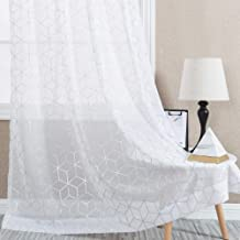White Sheer Curtains for Living Room Foil Print Voile 84 inches Long Window Curtain Panels Bedroom Geometric Design Rod Pocket Brainy Pattern Curtain Sheers 2 Panels