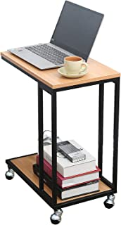 Snack Table Sofa Couch Side Table for Living Room, Mobile C End Table for Coffee Laptop, Brown