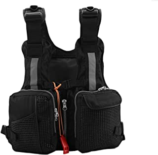 Fishing Vest Pack, Adults Fishing Life Jacket Fishing Vest Backpack With Whistle Outdoor Activities Red Black(Optional)