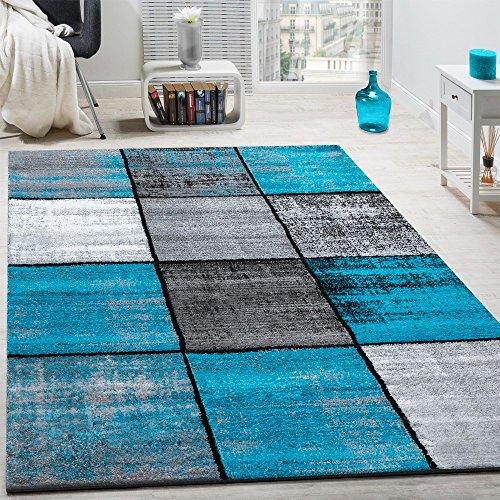 Paco Home Designer Teppich Modern Kurzflor Karos Speziell Meliert Grau Schwarz Türkis, Grösse:140x200 cm