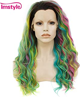 Imstyle Rainbow Lace Front Wigs Long Colorful Green Wigs Loose Wavy Dark Root Synthetic Hair Wig Glueless Heat Resistant With Natural Hairline 22 Inch