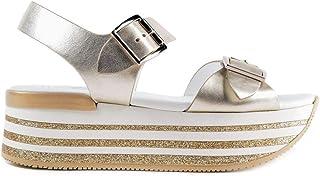 edición limitada HOGAN - Maxi H222 Wedge Sandals in in in Platinum Leather - GYW3700AA40SV0B202  nuevo estilo