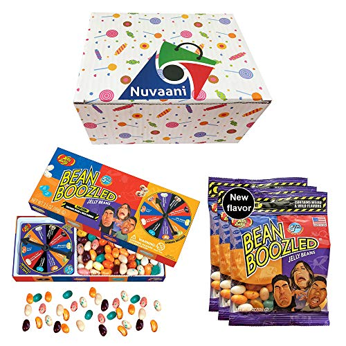 Jelly Belly Beanboozled Jelly Beans - Spinner Gift Box with 3 Refills | Bean Bazooled Game 5th Edition | Nice and Weird Flavors Tasting Game | Adults and Kids Game in Nuvaani Gift Box