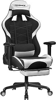 SONGMICS Fotel gamingowy z podnóżkiem, 150 kg, krzesło biurowe, krzesło do biurka, poduszka lędźwiowa, poduszka pod głowę,...