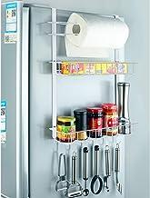 冷蔵庫ぶら下げラック棚サイドストレージ多層サイドウォールホルダースパイスラックジャーボトルホルダーオーバードア壁収納容器用キッチン浴室